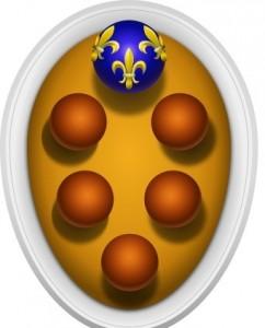 Stemma Casa Medici, sei palle in campo oro di cui quella superiore armata giglio francese