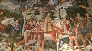 Firenze, Palazzo Medici Riccardi, Cappella dei Magi, particolare affresco Benozzo Gozzoli