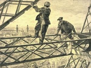 Torre Eiffel, due operai durante la costruzione (fonte foto Wikipedia)