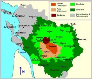 Sotto-zone di provenienza delle uve bianche utilizzate per produrre il Cognac (fonte Wikipedia)