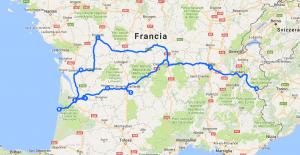 Mappa da Lione a Bordeaux alla Duna di Pilat