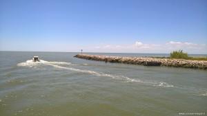 Delta del Po rami meridionali, punto di confluenza nel Mare Adriatico