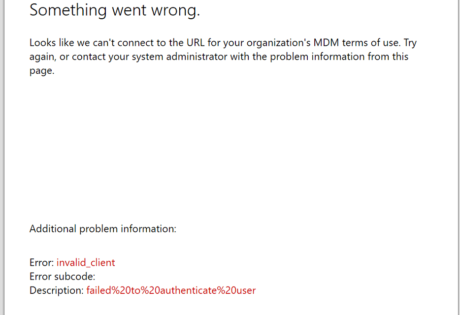 Something went wrong invalid_client