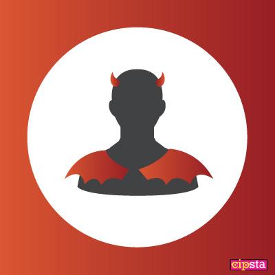Icona profilo con corna diavolo