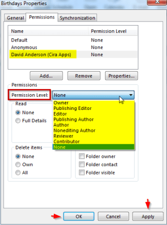 Public Folder Calendar Permission Level