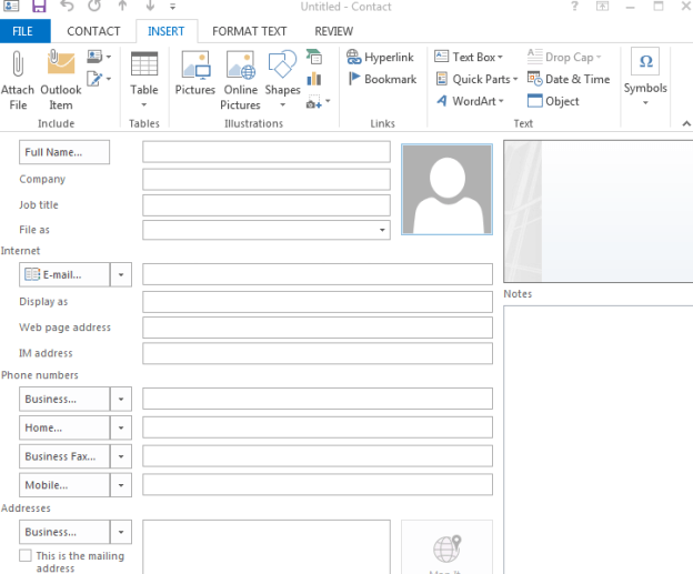 Outlook Public Folder User Contact Record