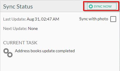 public folder contact sync summary
