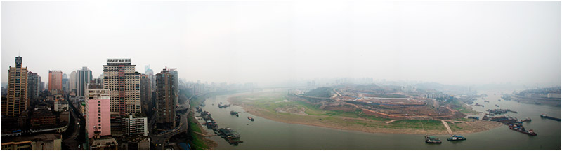 Chongqing, China -- The confluence of the Jialing and Yangtze rivers provides drinking water for the region's 31 million people. Photo by J. Carl Ganter for Circle of Blue.