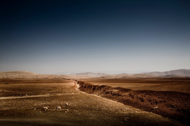 Distant hills and desert in the West Bank.