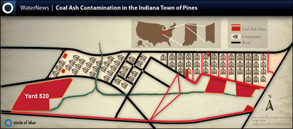 coal ash Map Water Energy Pollution Toxic Waste Town of Pines Indiana