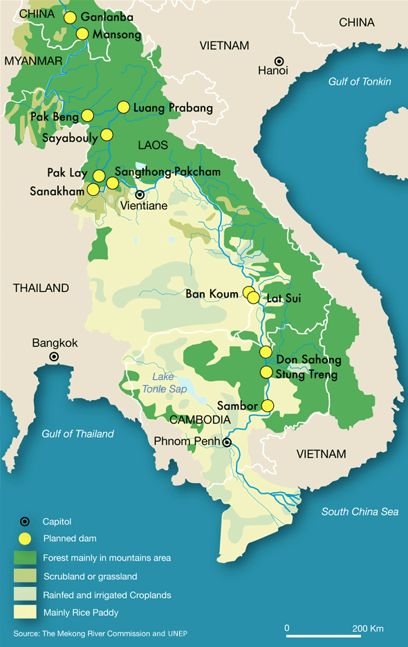 The Mekong river begins at the Tibetan Plateau in China and stretches through Myanmar (Burma), Thailand, Laos and Cambodia, before ending at the South China Sea in Vietnam.