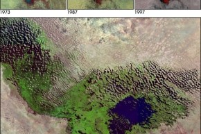A composite of images showing the diminishing Lake Chad from 1973 to 2001.