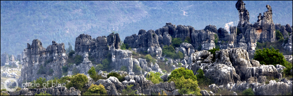 The rugged karst landscape of the Stone Forest near Guilin is a UNESCO World Heritage Site.