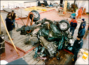 In 1997, he retrieved a Ford Bronco, pictured above, that drove off the Mackinac Bridge of Michigan.
