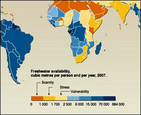 A 2007 graphic of global water availability.