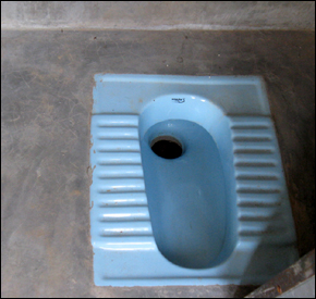 An example of the interior of a toilet that has been in use in Janadesar. JBF hosted town meetings and launched an educational campaign to show villagers how to construct low-cost toilets.