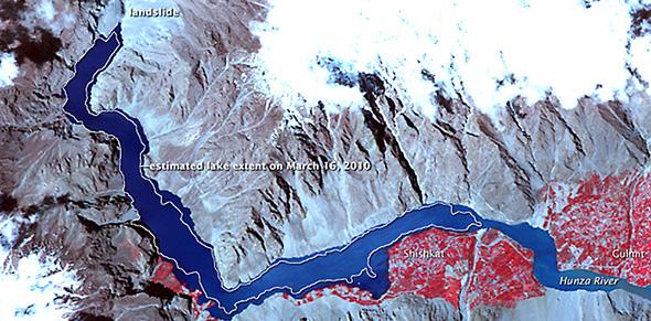 landslide lake on the Hunza River