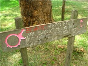 A hippo warning sign at Fisherman's Camp
