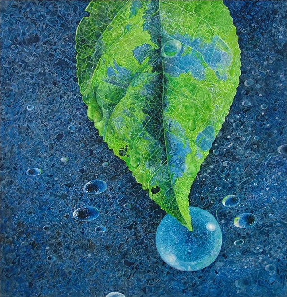 Greg Mort Print Circle of Blue water color painting freshwater crisis advocacy