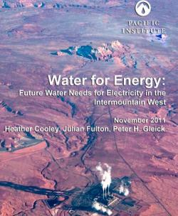 water energy pacific institute report electricity heather cooley peter gleick intermountain west U.S. united states