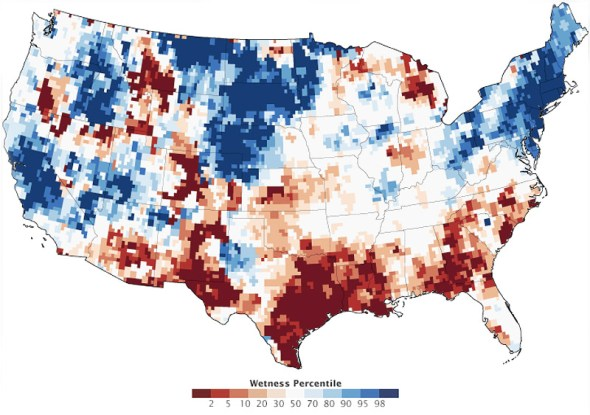 U.S. United States Groundwater water levels drought NASA 1948 2011