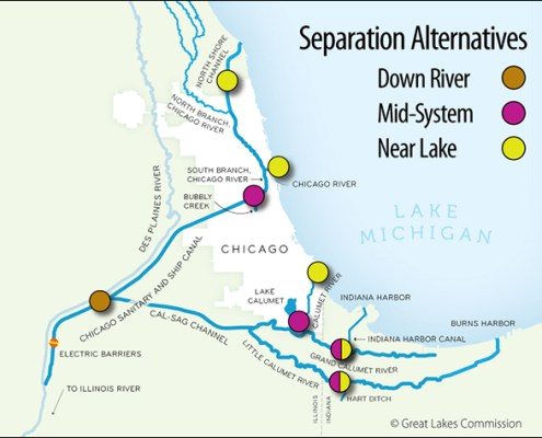 Asian Carp Barrier Map