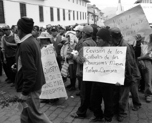 Protesters in Cusco, Peru in 2008 take part in a national day of strike against the government of former President Alan García, who opened up large areas of the Amazon to logging and mining interests.