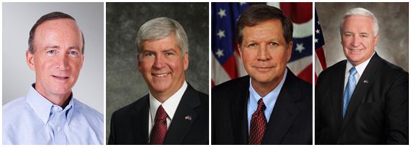 Great Lakes Governors republican gop mitch daniels indiana rick snyder michigan john kasich ohio tom corbett pennsylvania