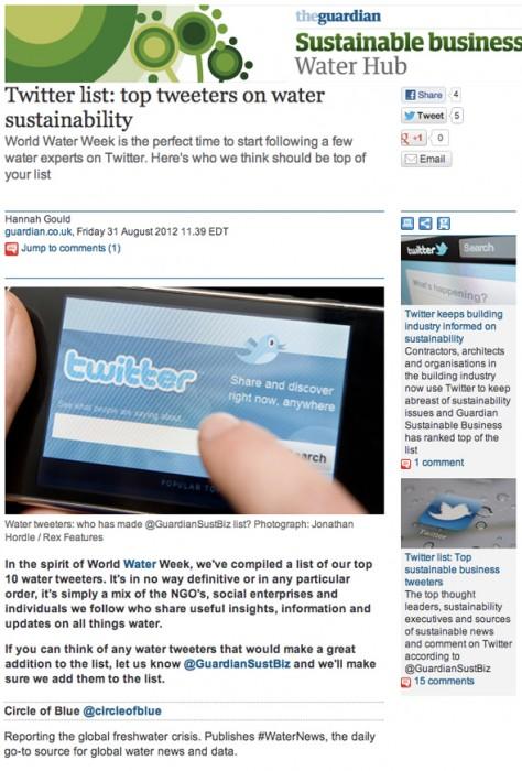 guardian sustainable business top water tweeter twitter circle of blue tweet