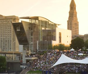 The Hartford, Connecticut riverfront, once polluted and unappealing, now draws nearly a million visitors each year. A riverside plaza, shown here, hosts concerts and festivals and is connected to downtown by a promenade over Interstate 91.