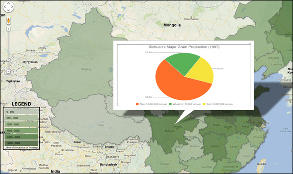 choke point china interactive infographic map google fusion table china provincial grain production data 1997 2010