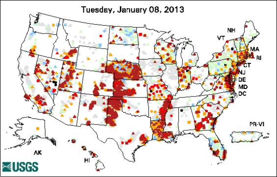 2012 United States groundwater levels