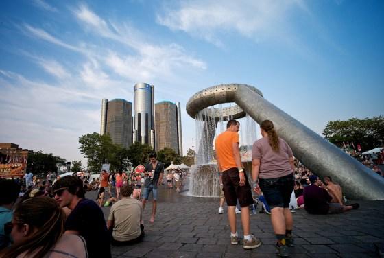 Detroit water utility Hart Plaza fountain