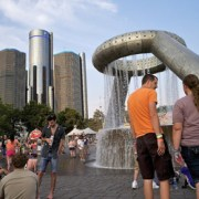 Music lovers congregate at Hart Plaza Fountain in downtown Detroit during the Movement Electronic MusMusic lovers congregate at Hart Plaza Fountain in downtown Detroit during the Movement Electronic Music Festival in May 2012.ic Festival in May 2012.