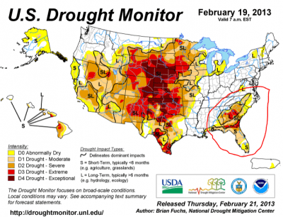 US Drought Monitor report for late February. The west is in severe drought, but notice anything about the southeast, around Georgia and Tennessee?