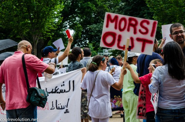 Egyptian Americans in Washington, DC lend support to protests against President Mohamed Morsi in Egypt.