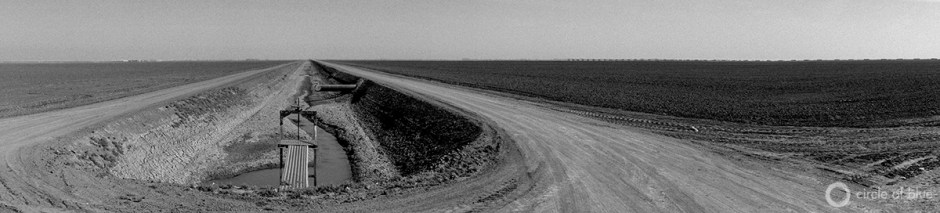 A drying irrigation ditch on the edge of the historic Tulare Lake Basin in California's Central Valley.