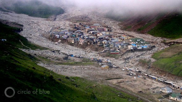 What's left of Kedarnath after the Uttarakhand flood on June 16 and 17, 2014.