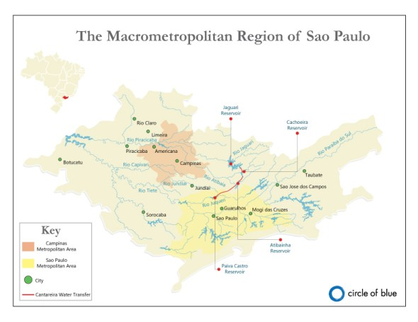 Sao Paulo Metropolitan Region water supply shortage map drought Brazil Codi Yeager Kozacek Circle of Blue
