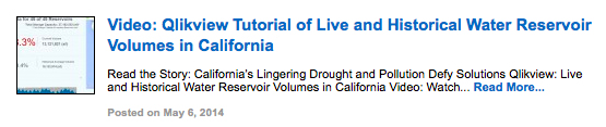 Video: Qlikview Tutorial of Live and Historical Water Reservoir Volumes in California