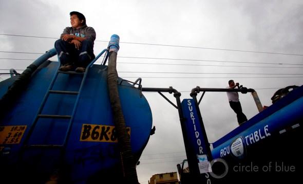 Peru Lima drinking water supply wastewater treatment megacity water tanker