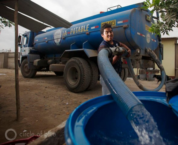 Peru Lima drinking water supply wastewater treatment megacity water tanker