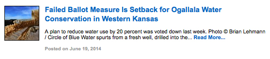 Failed Ballot Measure Is Setback for Ogallala Water Conservation in Western Kansas