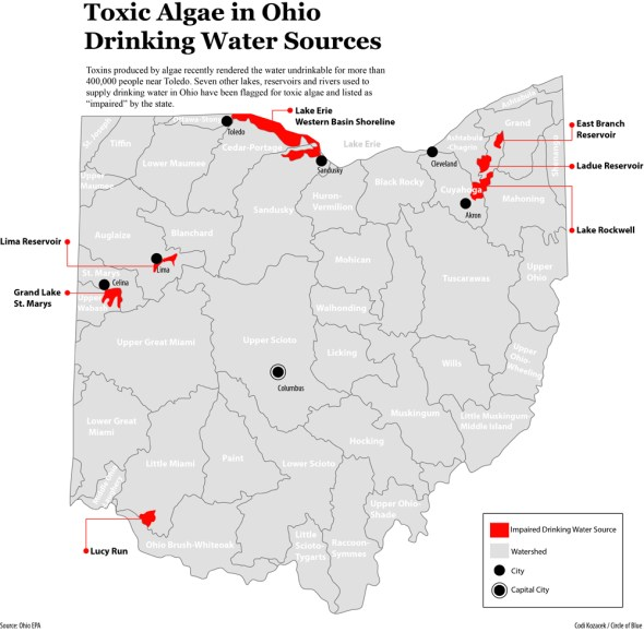 Ohio drinking water impaired toxic algae infographic map Codi Yeager-Kozacek Circle of Blue