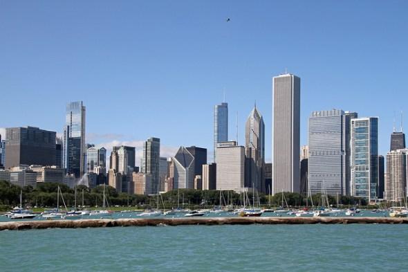Chicago skyline water