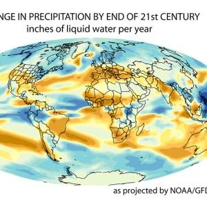 NOAA GFDL Climate Change Modeling Precipitation Changes Global High Emissions Scenario