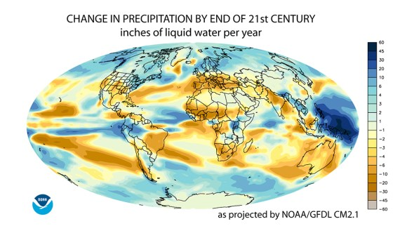 NOAA GFDL Climate Change Modeling Precipitation Changes Global High Emissions Scenario