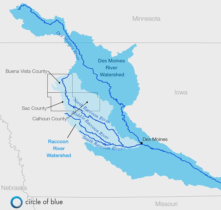 Des Moines Initiates Clean Water Act Lawsuit To Stem Farm - Iowa river map