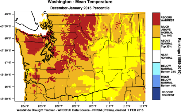 Washington 2015 temperature climate change snowpack Western Region Climate Center