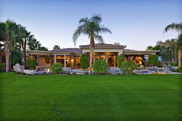 California lawn grass water use drought conservation restrictions mansion palm tree